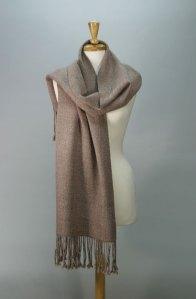 photo of handpun handwoven shawl, rose color, merino wool and tussah silk, by Joanne Littler, Pine Ledge Fiber Studio
