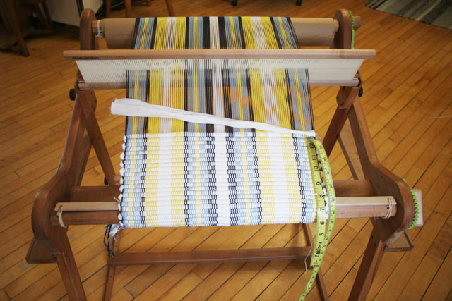 "photo of 24"" RH loom with cotton mat project in progress"
